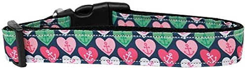 Mirage Pet Products Anchor Candy Hearts Nylon Dog Collar, Medium