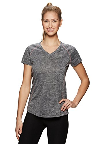 RBX Active Women's Space Dye V-Neck Short Sleeve Top Black S (Ribbed Poncho)