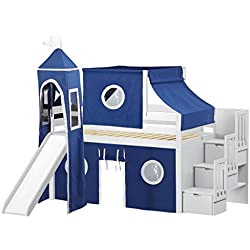 JACKPOT! Castle Low Loft Stairway Bed with Slide Blue Tent and Tower, Twin, White