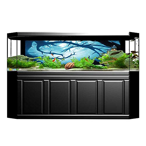 Jiahong Pan Aquarium Collage with Burning Eyes in Dark at Night Halloween White Paper Fish Tank Backdrop Static Cling Wallpaper Sticker L23.6 x H15.7 -