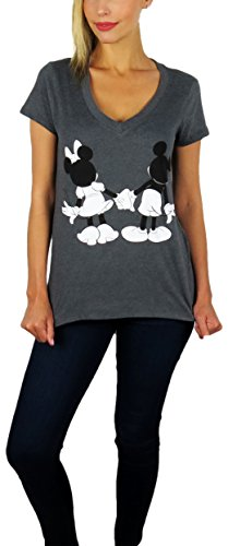 Disney Fashion - Disney Womens Mickey and Minnie Mouse V-Neck Tee (Charcoal, Medium)