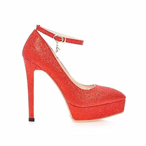 DIMAOL Chaussures Pour Femmes Microfibre Synthétique PU Printemps Automne Comfort Heels Talon Occasionnels Pour Argent Noir Or Rouge, Rouge, US6/EU36/UK4/CN36
