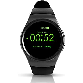 Keoker Kw18 1.3 inches IPS Round Touch Screen Bluetooth Smart Watch Phone with SIM Card Slot, Sleep and Heart Rate Monitor, Pedometer for IOS and Android ...
