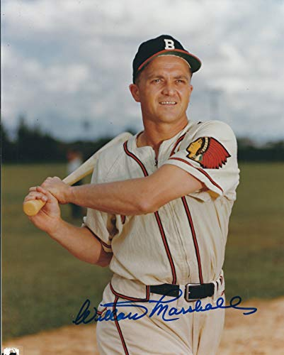 Autographed Willard Marshall 8X10 Boston Braves Photo