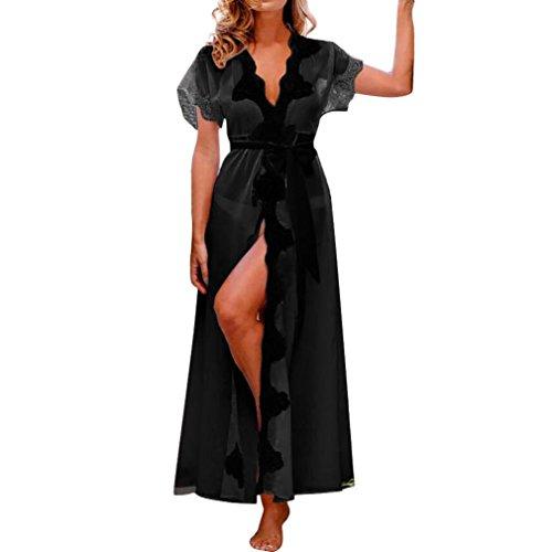 one_day Women Bikini Sexy Lingerie Sleepwear Underwear Lace Bow Beach Smock Long Coat Nightwear Cover Up (S, (Zippered Smock)