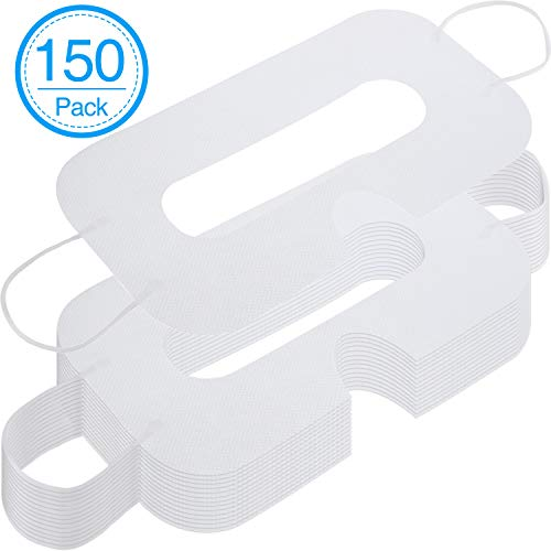 150 Pack Disposable Mask Non-Woven Sanitary Eye Mask White Eye Mask Cover Compatible with VR Headset H-T-C Vive Virtual Reality Headset