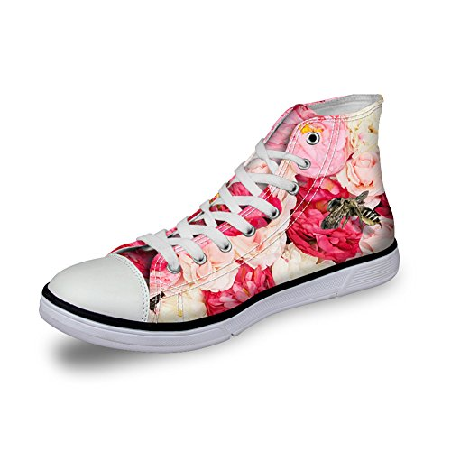 HUGSIDEA Sneakers Top High Women Fashion Floral Girls for Canvas 12 Floral PxPrn