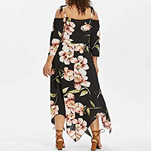 Tosonse Off Shoulder Dresses for Women Plus Size Floral Print Maxi Dress Lace Up Strap Dresses