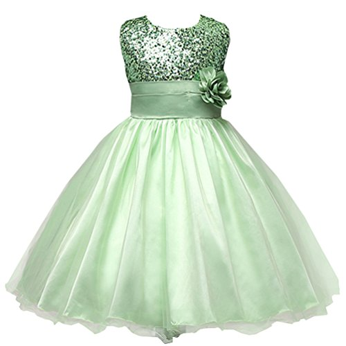 Csbks Little Girl Flower Sequin Princess Tulle Party Dress Birthday Ball Gowns 4T Green