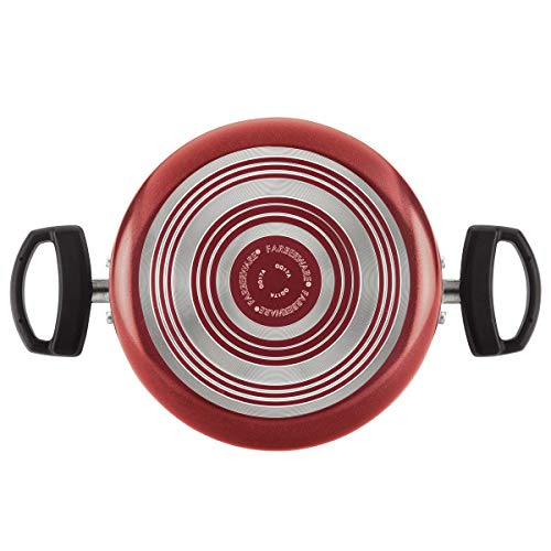 Farberware Neat Nest Space Saving Aluminum Nonstick Cookware Set (Red 10 pc set)