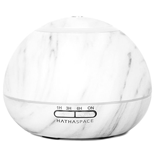 Optional Diffusers - Hathaspace Marble Essential Oil Aroma Diffuser, 300ml Aromatherapy Fragrance Diffuser & Ultrasonic Cool Mist Room Humidifier, 16 Hour Capacity, BPA-Free, 7-Color Optional Ambient Light (White)
