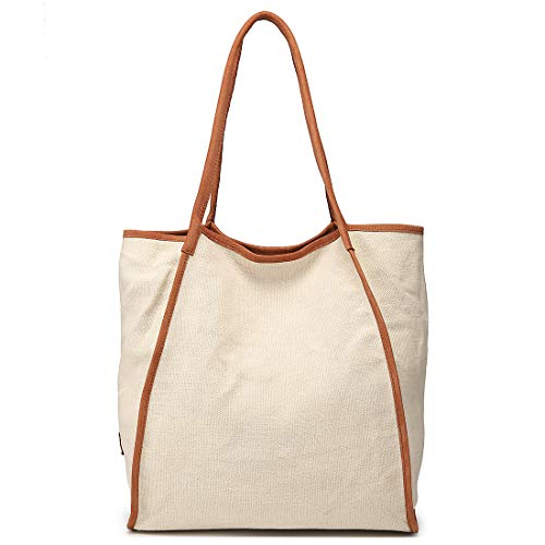 Work Tote Bag for Women Extra Large Capacity Shopper Shouler Travel Bag Genuine Leather & Canvas Handbag Beige ()