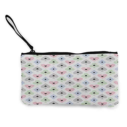 Women's hand bag clutch bag Casino Cards Symbols Soft Colors Geometric Ornament Pattern Gathering Wallet Coin Purses Clutch W 8.5