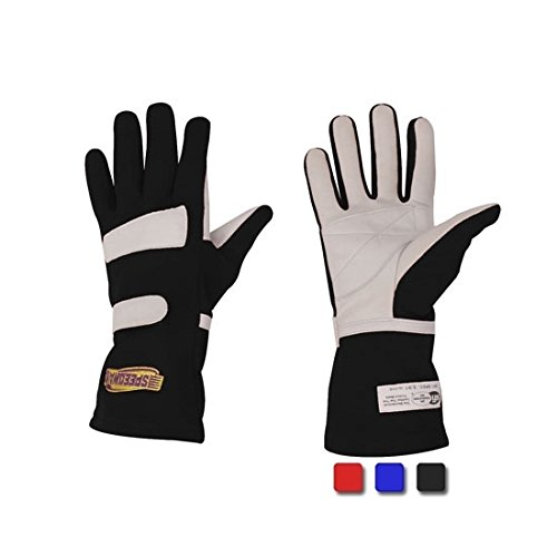 Black Nomex Racing Gloves, Size Large, SFI-1, Leather Palm