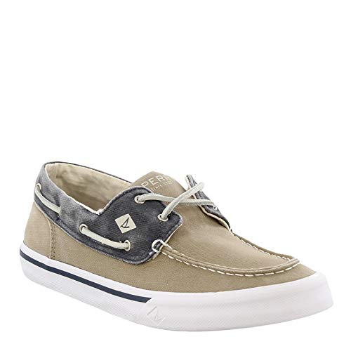 Sperry Men's Bahama II Boat Washed Sneaker, Taupe/Navy, 10.5 D(M) US (The Best Boat Shoes 2019)
