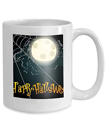 mug coffee tea cup halloween spiderweb hand drawn style background full moon Character 110z]()