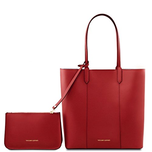 pelle Tuscany Leather Borsa Dafne Leather in shopper rosso Tuscany Nero 6pnqO7wf