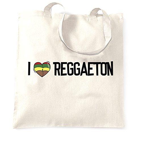 Music Tote Bag I Love Reggaeton Reggae Jamaica Dub Soca White One Size ()