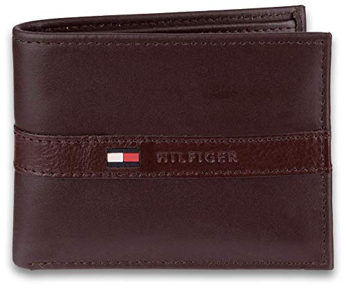 Tommy Hilfiger Men's Ranger Leather Passcase Wallet with Removable Card Holder,Brown, image