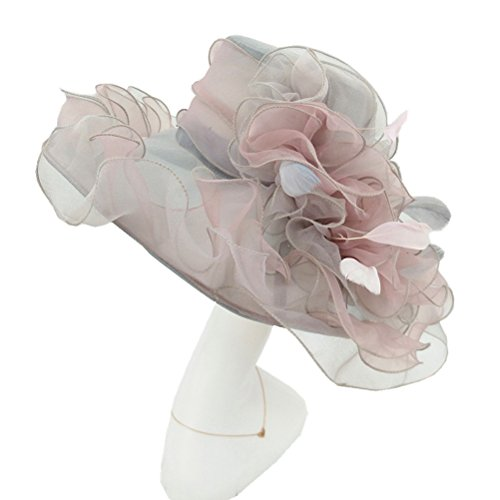 ucky Derby Sun Hat Church Cocktail Party Wedding Dress Organza Hat Two Tone Color (SF2-Grey+Pink) (Two Tone Gauze)
