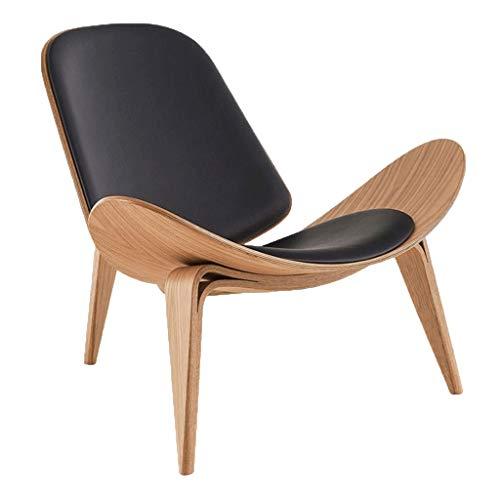 YiHuiHui A+ Net red Chair Creative Simple Designer Single Sofa Chair Leisure Chair Balcony Living Room Shell Chair (Color : Log Microfiber Black mat)
