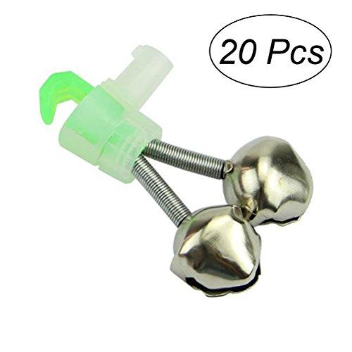 (WINOMO 20Pcs Fishing Rod Alarm Bells Dual Bells Rod Clamp Tip Clip Twin Alert Bells)