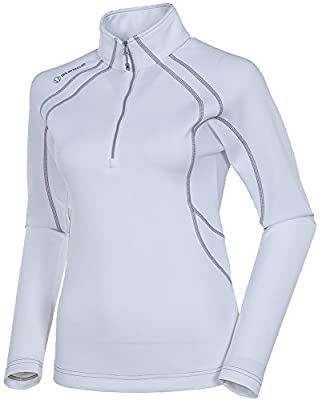 LPGA Women's Megan Layer Long Sleeve Pullover, Pure White/Ombre, Large