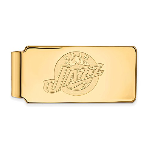 NBA Utah Jazz Money Clip in 18k Yellow Gold Flashed Silver by LogoArt