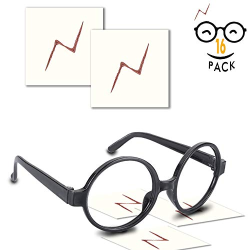 YoHold Wizard Glasses with Round Frame No Lenses and Lightning Bolt Tattoos for Kids Harry Potter, Halloween, St Patrick's Day Costume Party, 16 Pack of Each, (Each Tattoo)