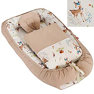 Baby Nest for Girls Bed Baby Lounger Newborn Infant Bassinet Co-Sleeping Portable Cribs with Woodland Animal for Bedroom/Travel Camping, Breathable and Soft