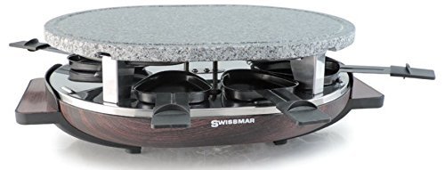 Swissmar 8 Person Matterhorn Raclette Party Grill with Wood Base and Granite Stone Grill Top KF-77069