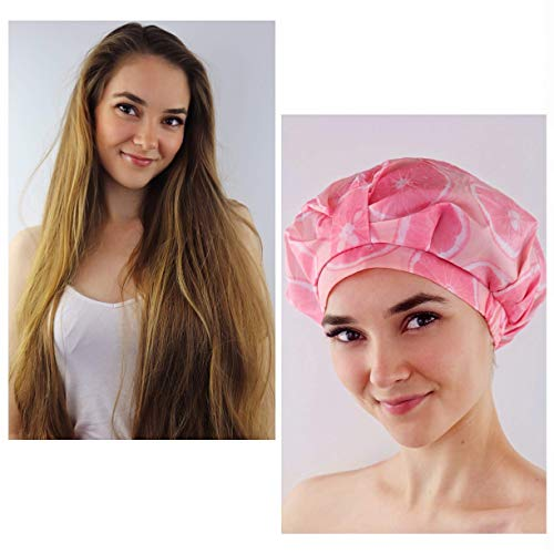 Luxury Shower Cap For Women - Ideal For All Hair Lengths and Thicknesses - Reusable, Waterproof and Washable - Double Layered Hair Cap - Beautiful Style and Color (Pink)
