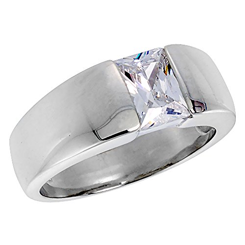 (Mens Sterling Silver Cubic Zirconia Solitaire Ring Emerald Cut 1.5 ct size, size 11 )