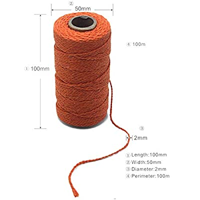 Yzsfirm 2 Roll 2mm Cotton Twine Rope, 656 Feet Orange Bakers Twine String for DIY Crafts and Gift Wrapping : Office Products
