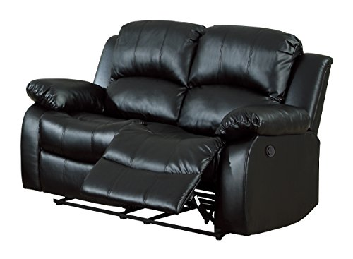 Homelegance 9700BLK-2PW Plushy Rolled Tufted Power Reclining Motion Bonded Leather  Love Seat, Black by Homelegance