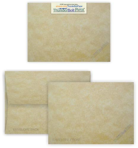 Aged Sake - 5X7 Blank Cards with A-7 Envelopes - Aged Parchment Look - 50 Sets by Thunderbolt Paper - Lighter & Darker Colors of Paper Pulp - Invitations, Greeting, Thank Yous, Notes, Weddings - 65# Light Cover
