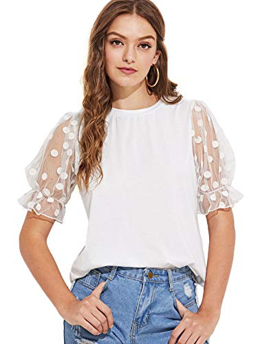 SheIn Women's Casual Round Neck Tshirt Polka Dot Mesh Short Sleeve Tee Tops X-Small White