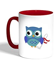 Graduation - Owl picture Printed Coffee Mug, Red Color (Ceramic)