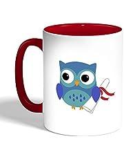 كوب سيراميك للقهوة بتصميم يوم التخرج صورة البومة ، لون احمر