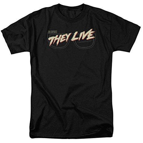 They Live Glasses Logo T-shirt, Black, -
