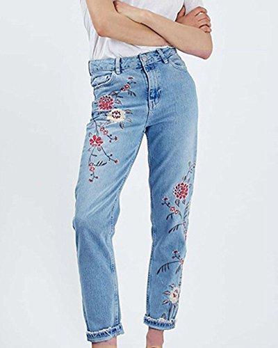 Casuale Ricamato Gamba Blu Dritta Donne Jeans Pantaloni Ux0qw5Et