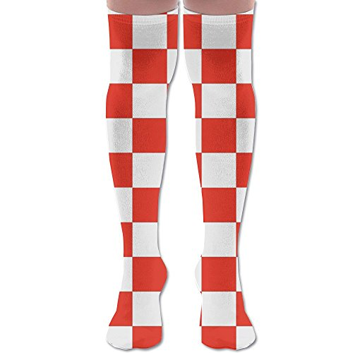 Classic Red And White Checkered Unisex Over The Knee High Socks Women & Men Sport High Stockings 1 ()