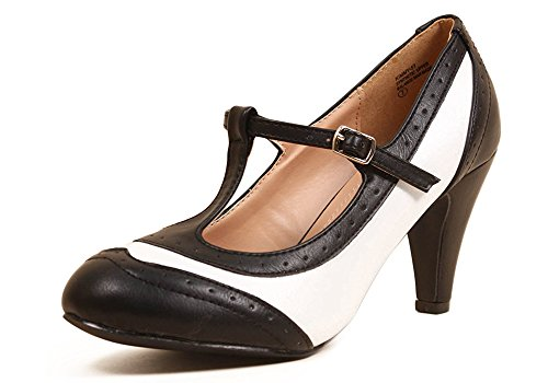 Sidecca Kimmy-51 Retro Two Tone Wingtip Pump Heel (7, (Black And White Shoes 50s)