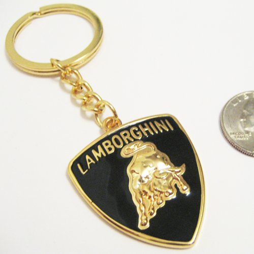 amazoncom lamborghini bull logo gold tone three dimensional keychain automotive
