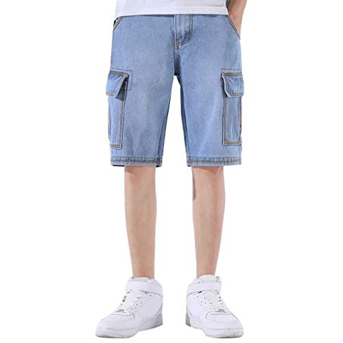 Hmlai Clearance Men's Summer Casual Fashion Relaxed-Fit Lightweight Comfortable Beach Denim Cargo Shorts with Pockets (29, Light Blue) ()