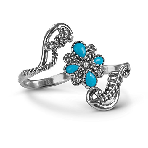 - American West Sterling Silver Sleeping Beauty Turquoise Gemstone Double Finger Ring Size 06
