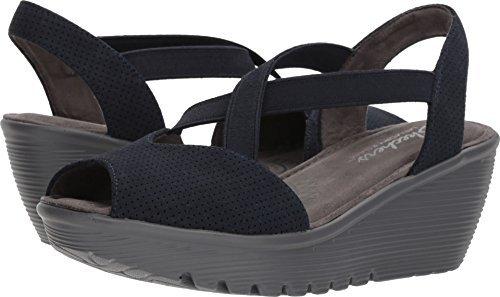 Skechers Women's Parallel-Piazza-Peep Toe Gored Slingback Wedge Sandal, Navy, 7.5 M US - Navy Sling