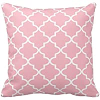 Light Pink and White Decorative Cushion Covers Throw Pillow Case Moroccan Quatrefoil Pattern Print Square Two Sides 20x20 Inch