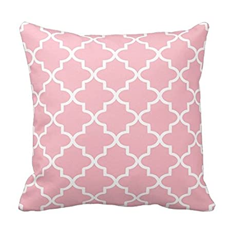 Light Pink and White Decorative Cushion Covers Throw Pillow Case Moroccan Quatrefoil Pattern Print Square Two Sides 18X18 Inch Poppy-Baby