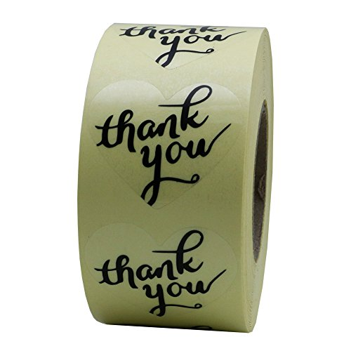 Hybsk Love Heart Clear Wafer Thank You Stickers with Black Ink 1.5 Inch Adhesive Labels 500 Per Roll ()